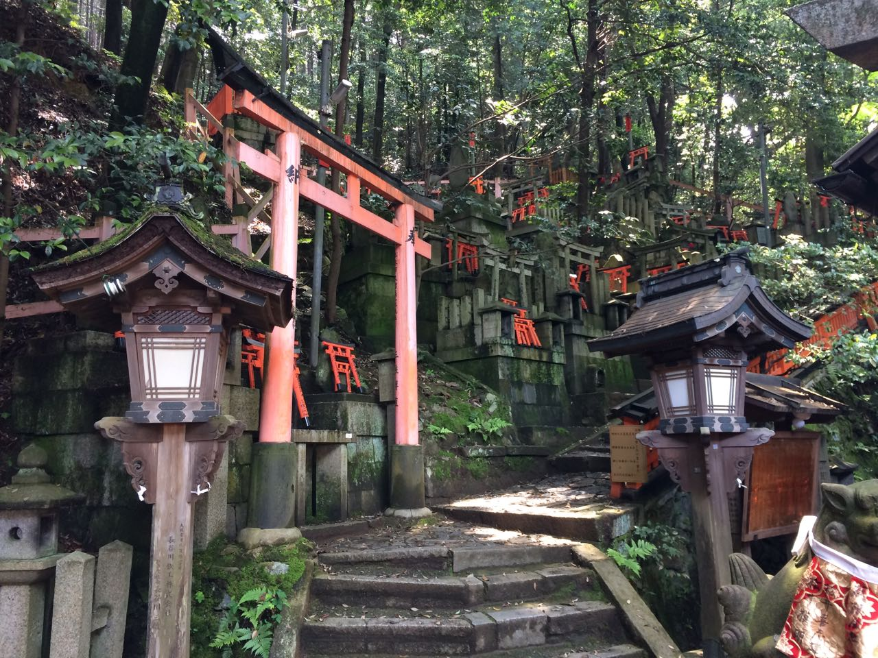 Clockwise from top-left:  Stack of purchased torii gates; statue of a fox deity; gates leading to minishrines; snack of hard-boiled eggs and tea at at one of the many rest stops partway.