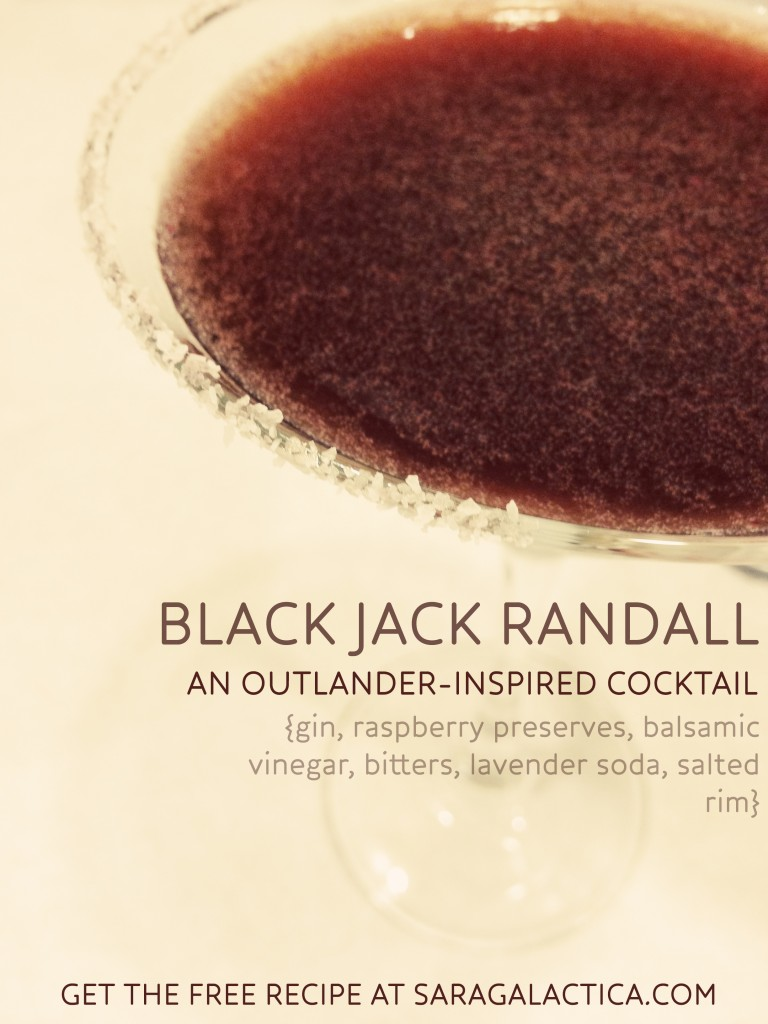 Black Jack Randall, an Outlander-inspired cocktail made with gin, raspberry preserves, balsamic vinegar, bitters, and lavender soda. | saragalactica.com