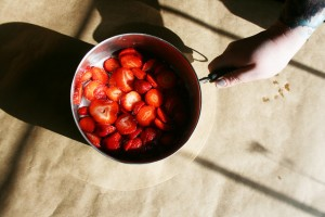 Strawberries in simple syrup.