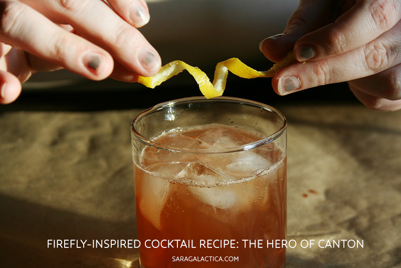 "Firefly-Inspired cocktail, ""The Hero of Canton."" Bourbon, ginger syrup, bitters, lemon, club soda, twist. {Recipe: saragalactica.com.}"