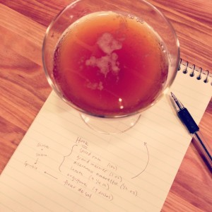 Hook cocktail, inspired by Once Upon a Time: rum, Grand Marnier, amaretto, Angostura, lemon, sea salt