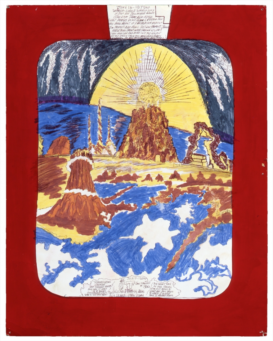 It Came from out of Space The Volcano and the Eternal Rising , Royal Robertson (1986)   Marker, ballpoint pen, paint, on poster board  From the Souls Grown Deep Foundation Collection