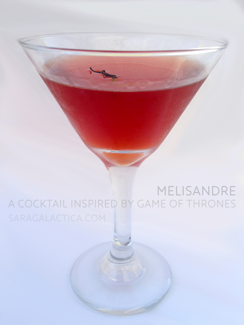 Melisandre: A cocktail inspired by Game of Thrones. Vodka, pomegranate liqueur, Russian caravan tea syrup, bitters. Recipe at saragalactica.com.