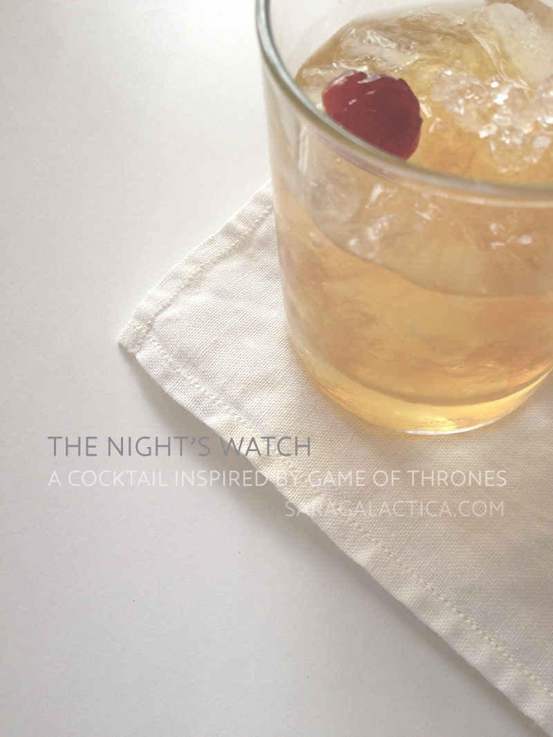 The Night's Watch: A cocktail inspired by Game of Thrones. Gin, Grand Marnier, Cynar, honey, red wine vinegar. Recipe at saragalactica.com.