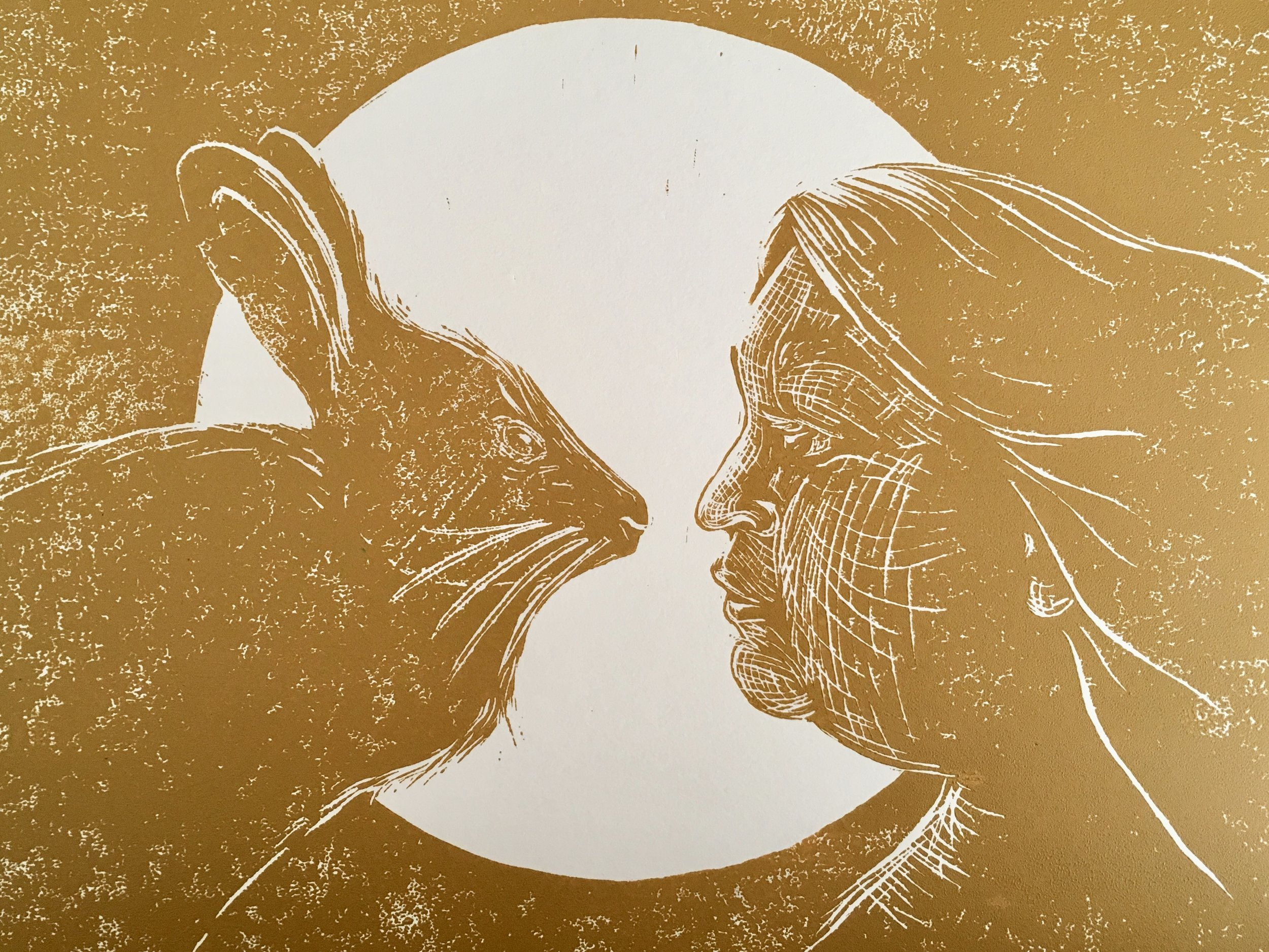 """Hare Moon / She Who is Without Shame"" linocut print in yellow ochre by Sara Galactica (2019)."