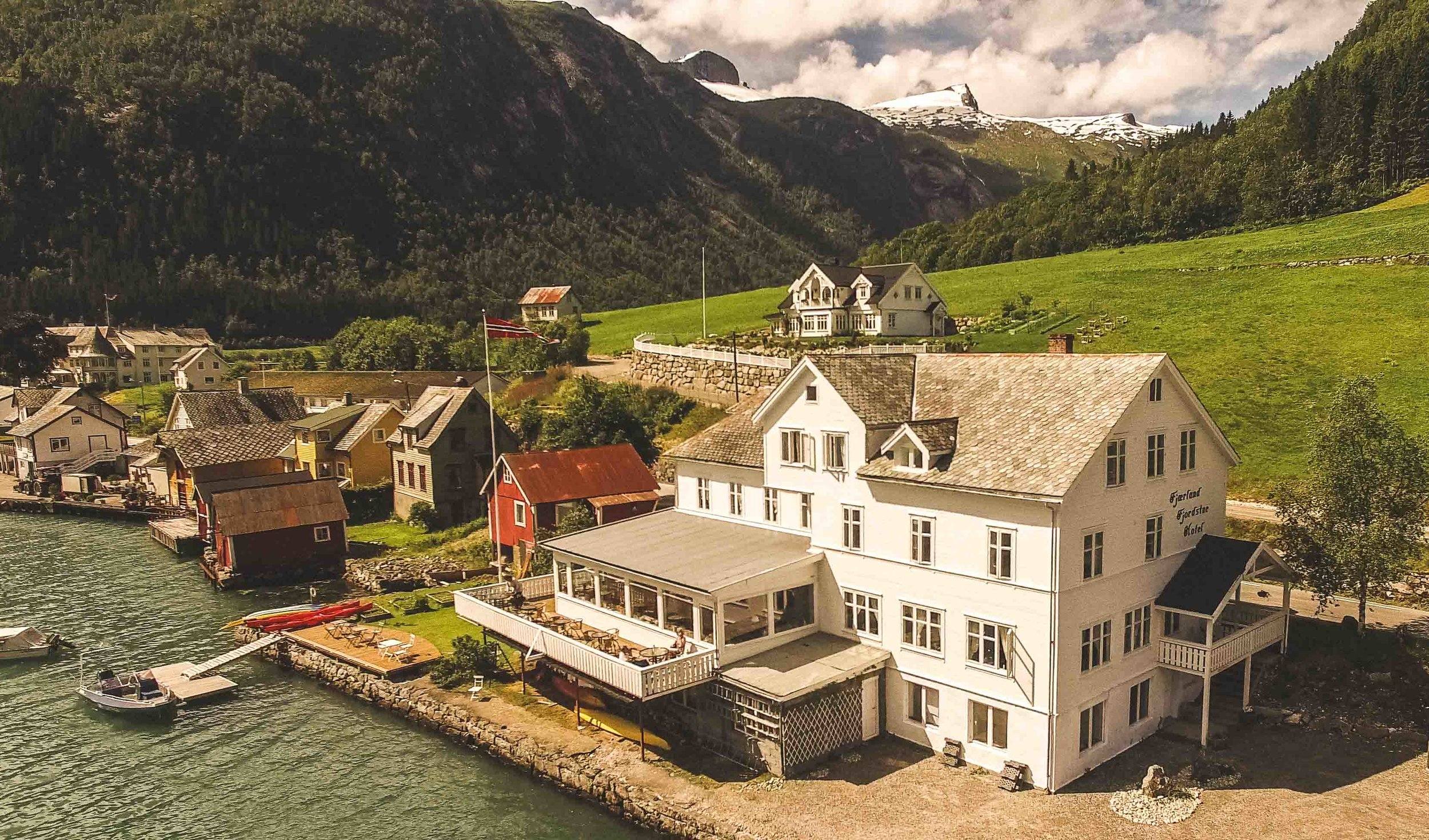 The hotel seen from the fjord