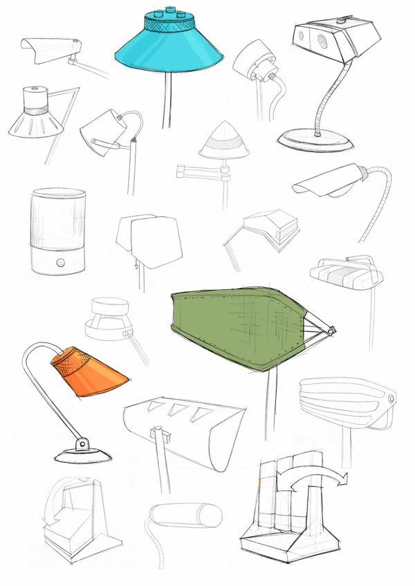 Desk lamp concept sketches.