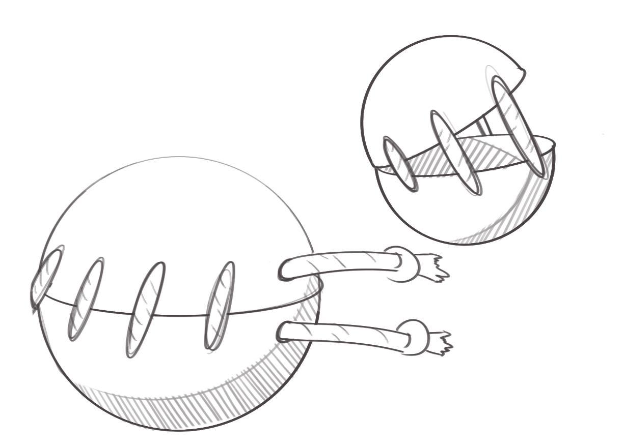 Treat dispensing pet toy conceptual sketch.