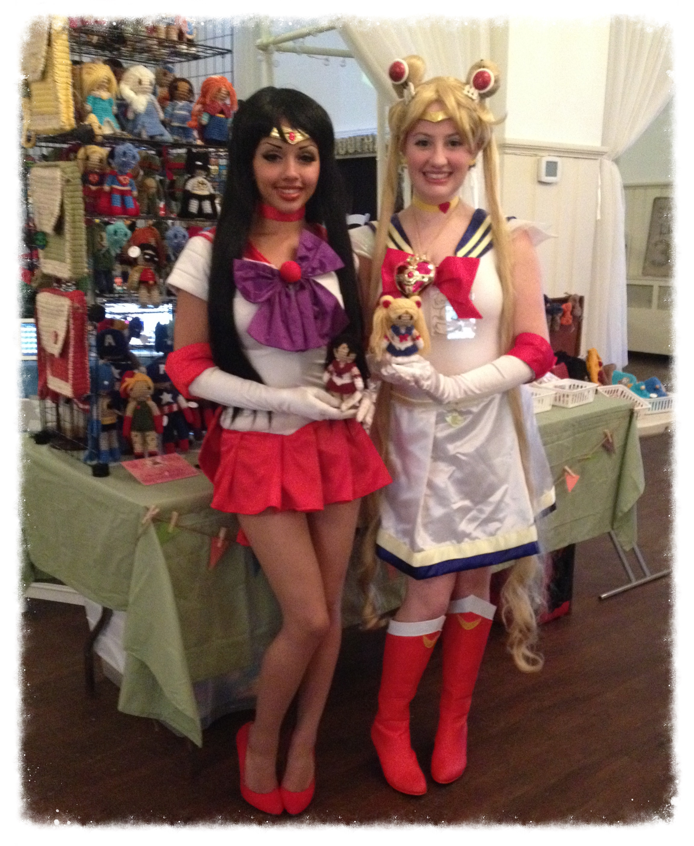Keyana holding Sailor Mars & Nicole holding Sailor Moon