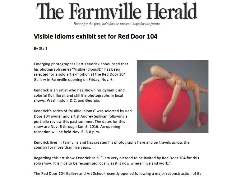 Visible Idioms exhibit set for Red Door 104