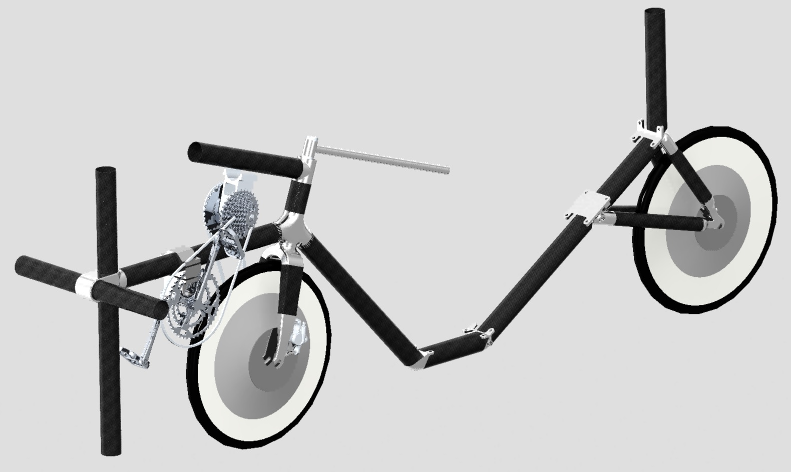 Rendered Image of our frame, constructed using Carbon Fibre tubes and 3D printed Titanium joints