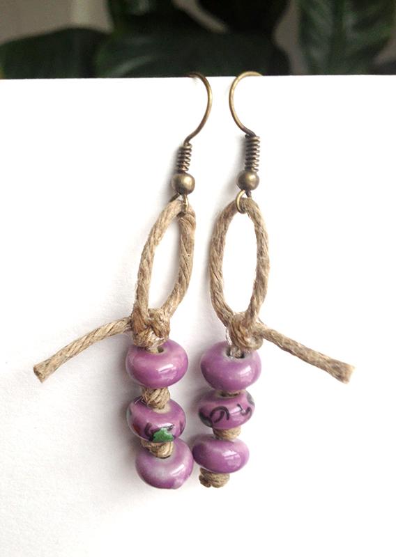 Hemp and Ceramic Earrings