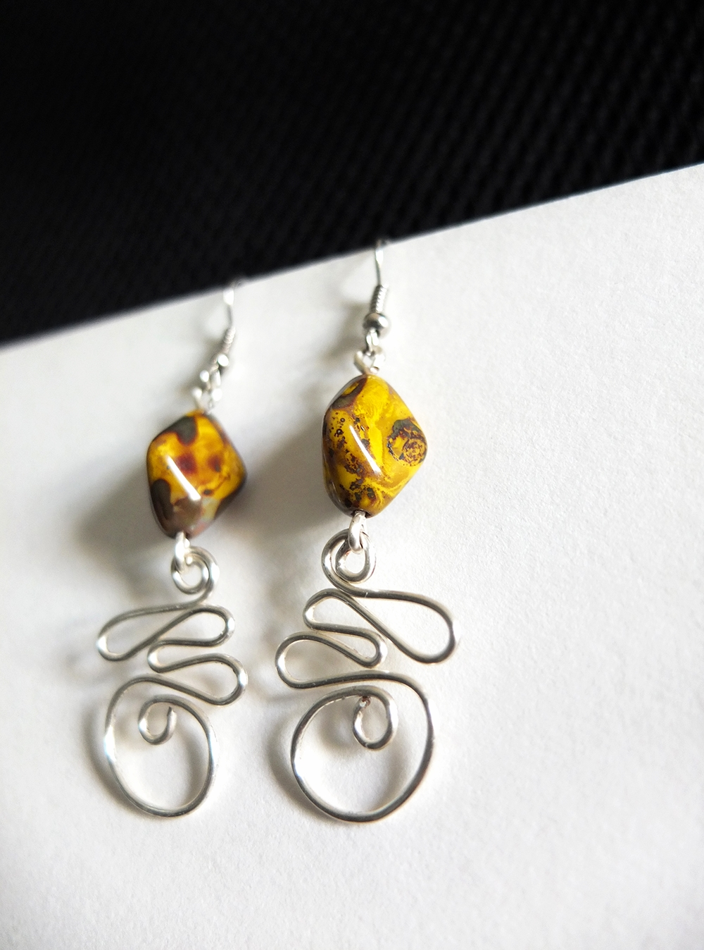 Hammered Wire & Stone Earrings
