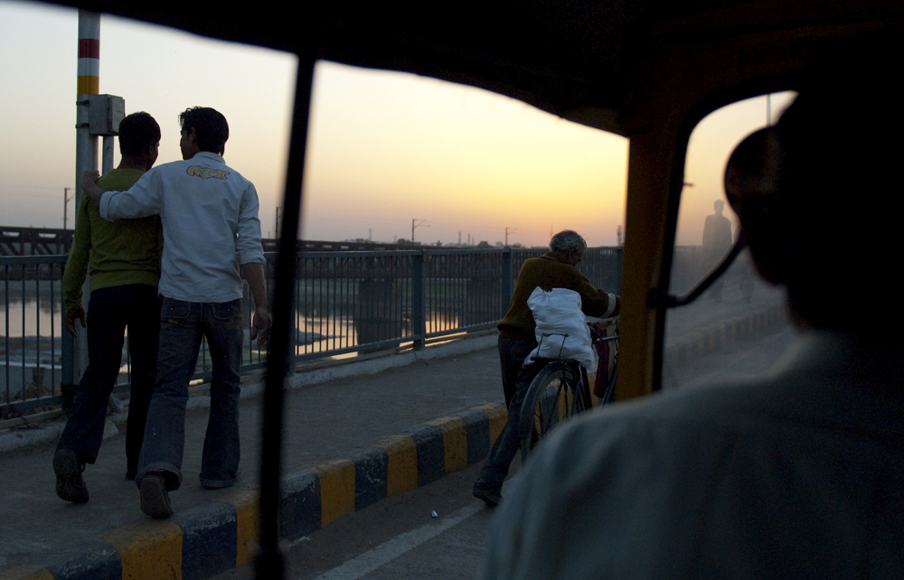 Riding in an auto through Agra, Rajasthan. 2011.