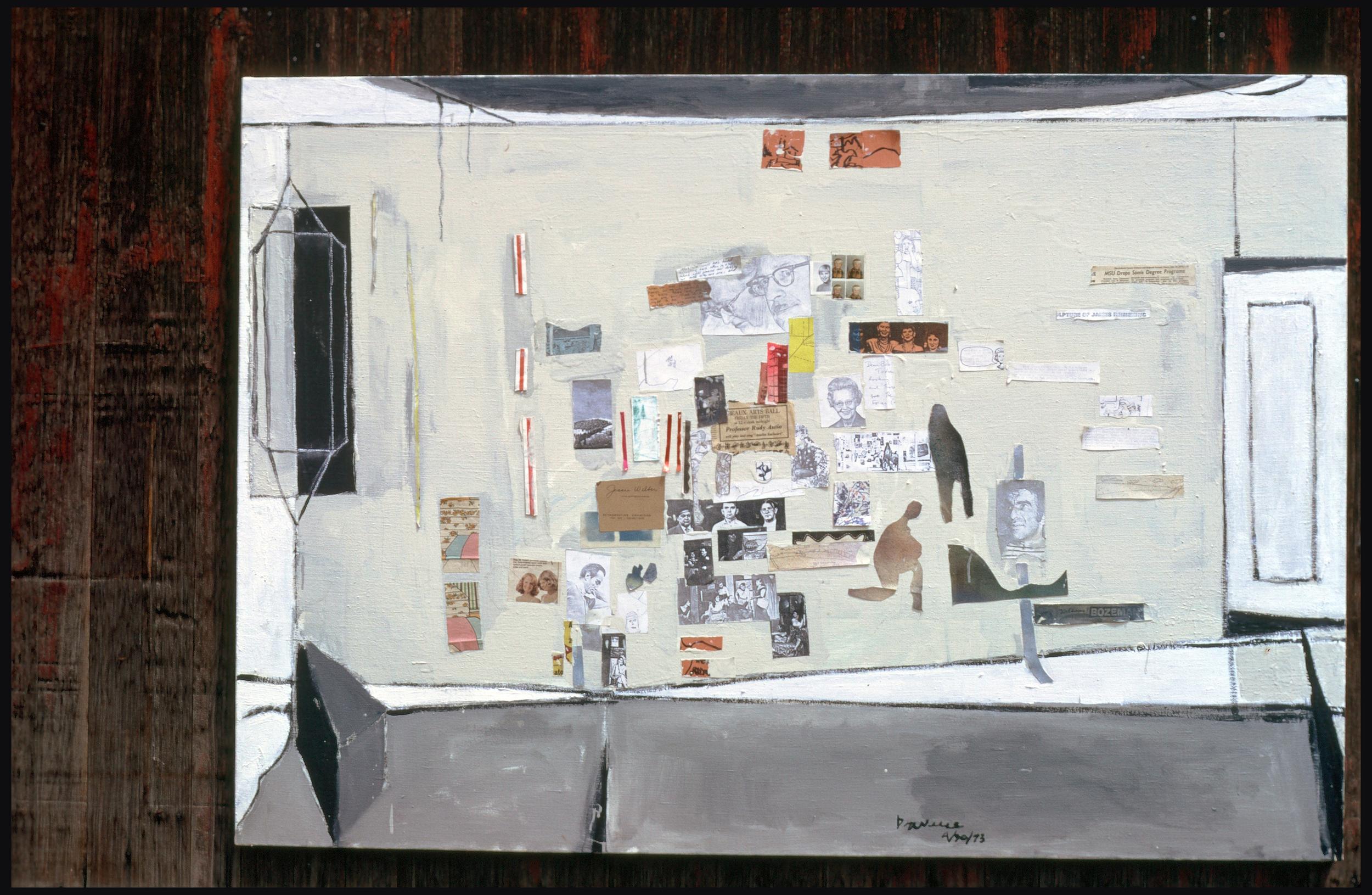 "Bob's - Studio Wall/ 1973/mixed media collage/approx 24 x 38"""