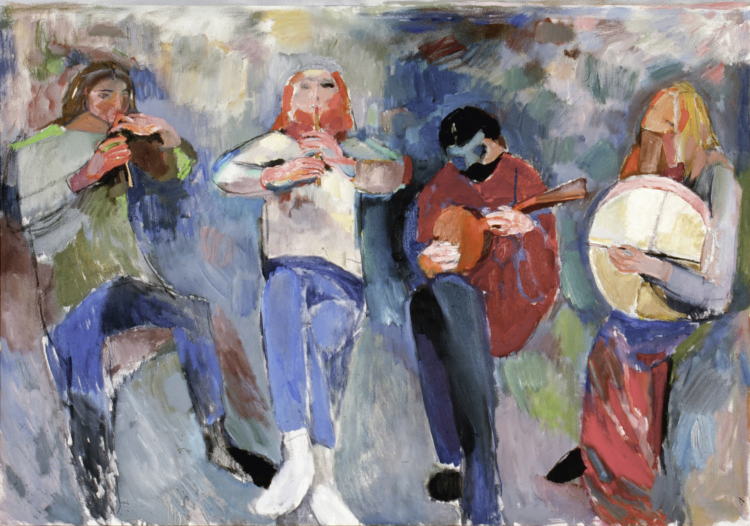 "BOB - IRISH MUSICIANS/1980's/36 x 60"" / Property of the Holter Museum"