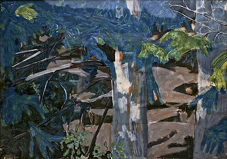 """GEN - Path Through the Trees/ 1985/ oil on masonite/ 36 x 48"""" / Property of Lela Autio"""