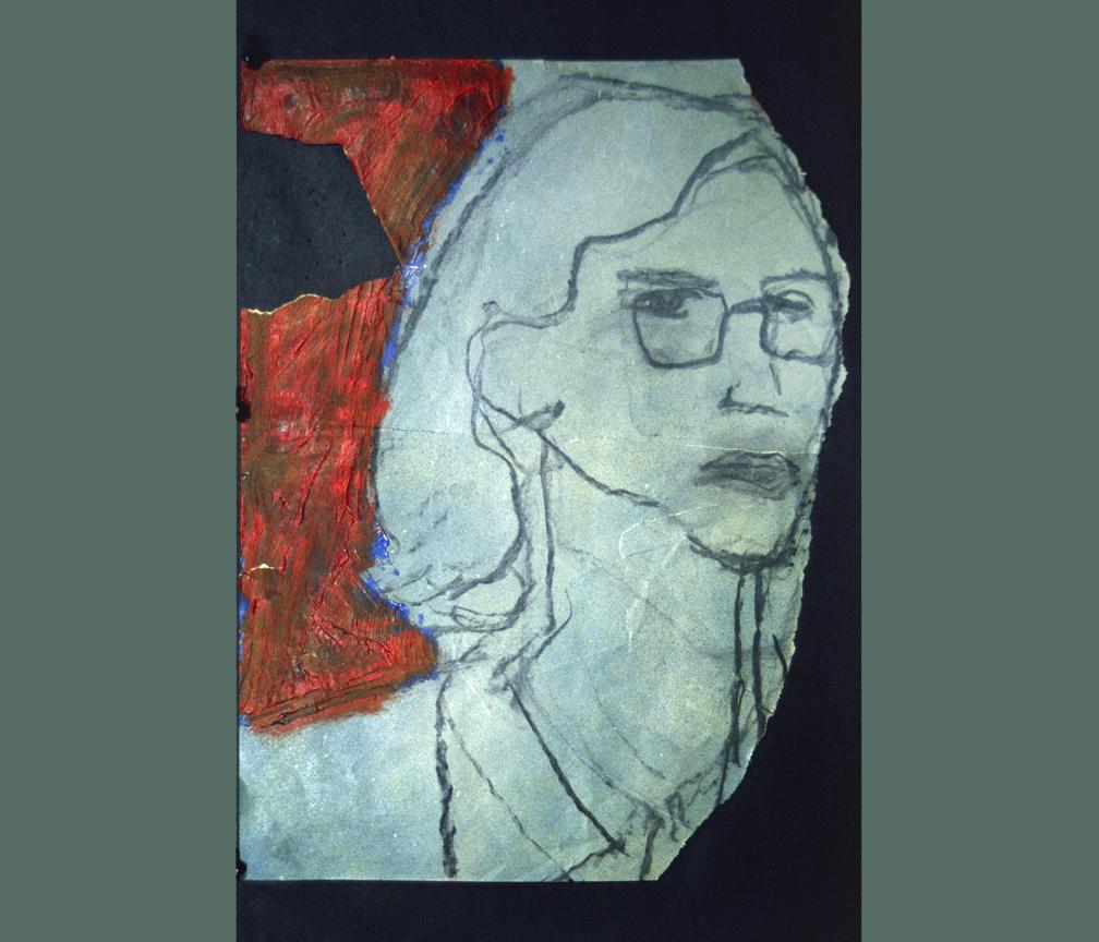 """BOB - Jan / 1970 / charcoal, oil on torn paper / 9 x 14"""""""