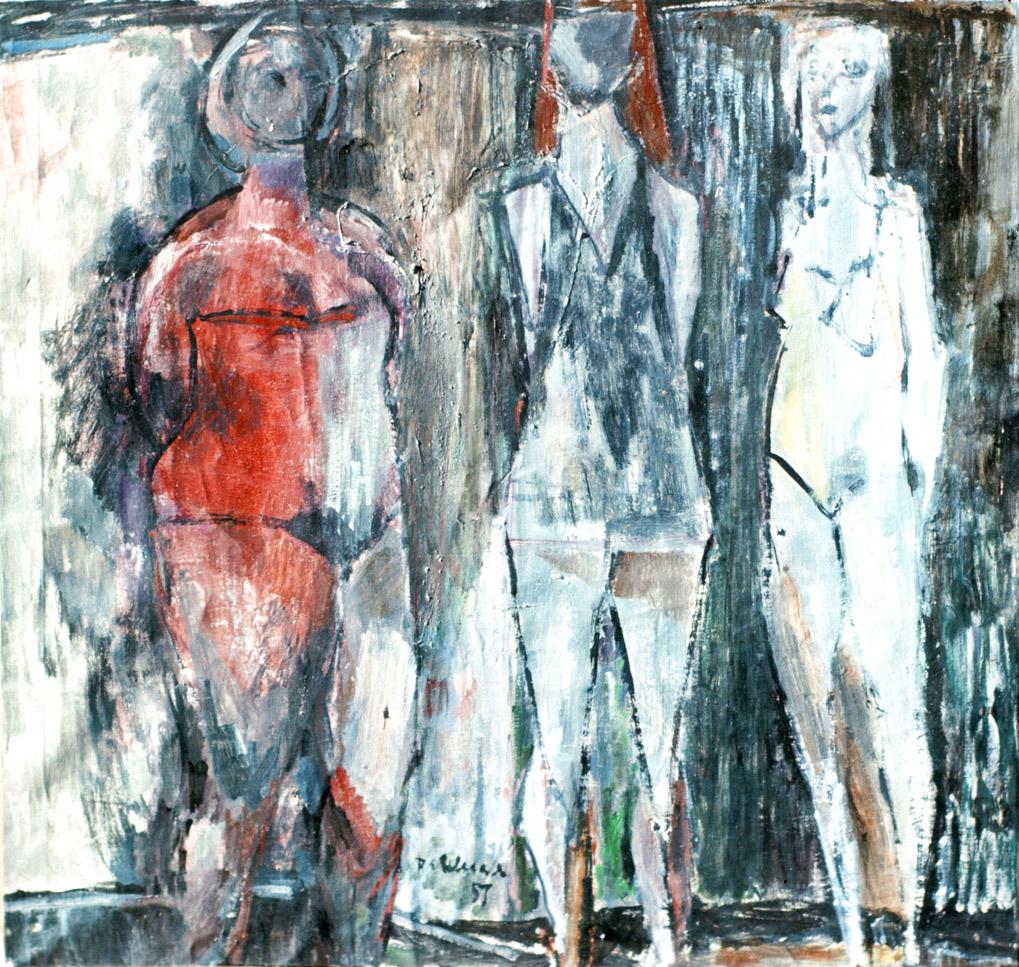 "Three Graces - 1957/oil on masonite/18 x 18"" (?)"