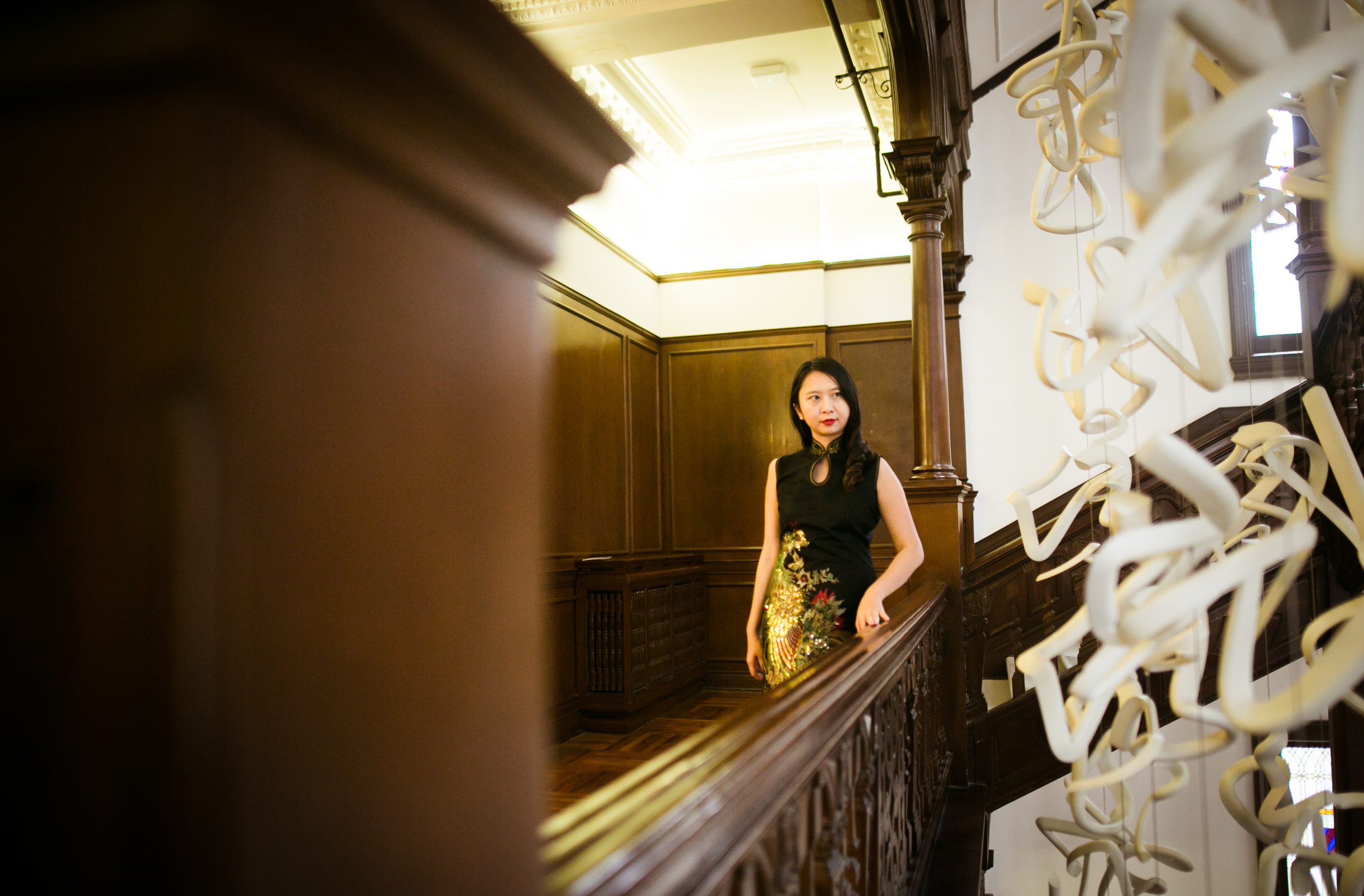 At Swatch Art Peace Hotel, wearing qipao from Shanghai market