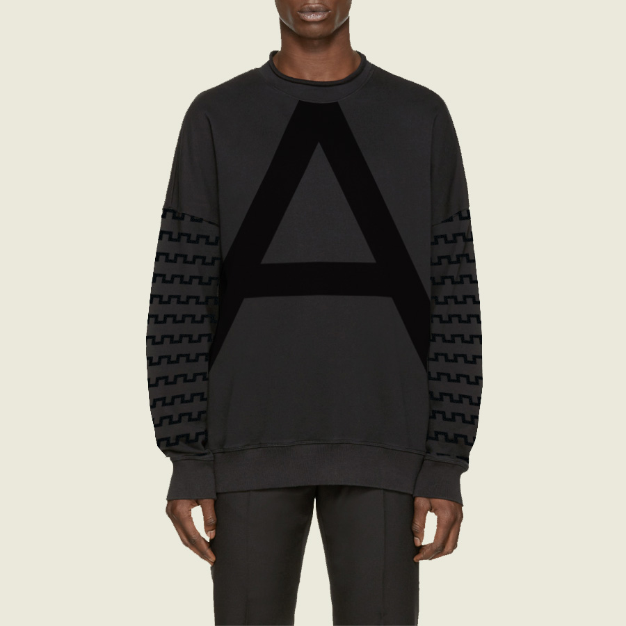 """ALPHA COLLECTION. """"Modern A Fleece with Fortress Motif Sleeves"""