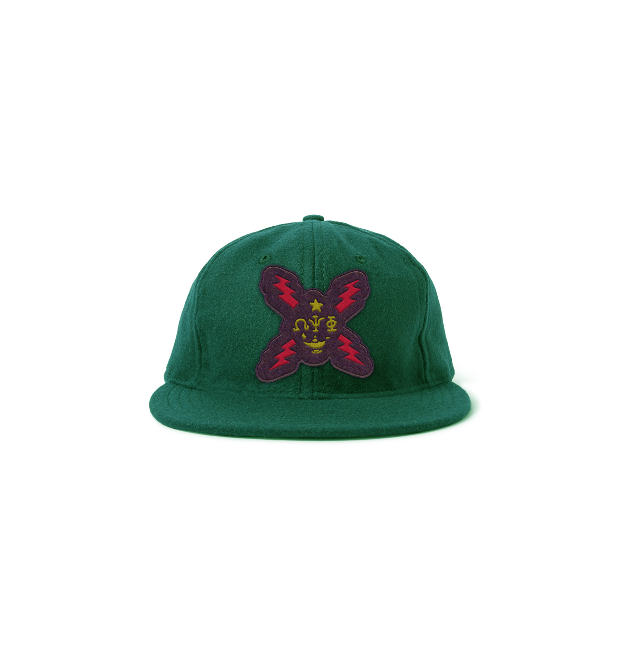 Crossed-ThunderBolt-Tshirt-KELLY-GREEN-Wool-Cap-with-Leather-Strap.png