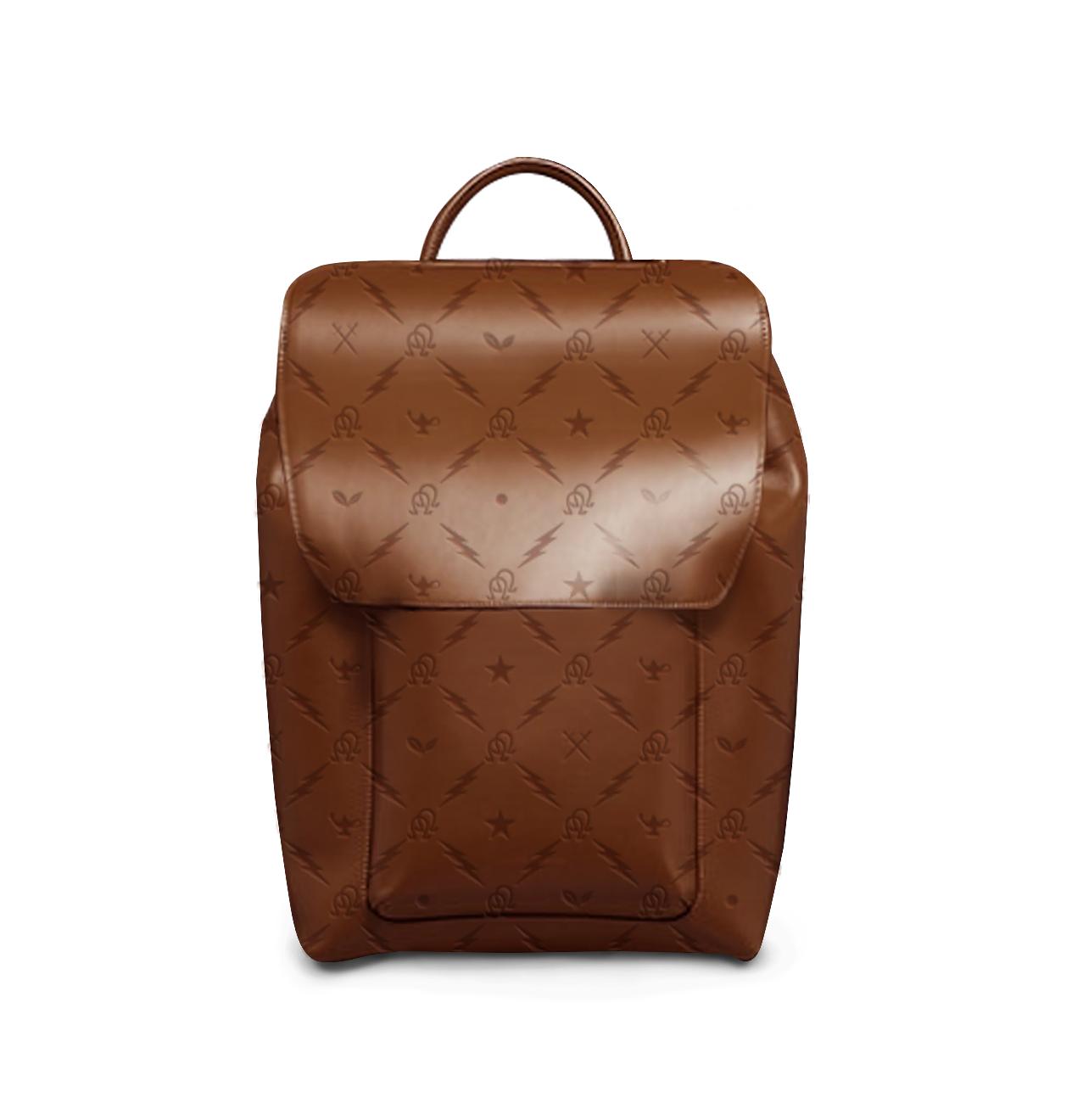 Omega-Motif-Embossed-Brown-Leather-Bookbag-Close-Up.png
