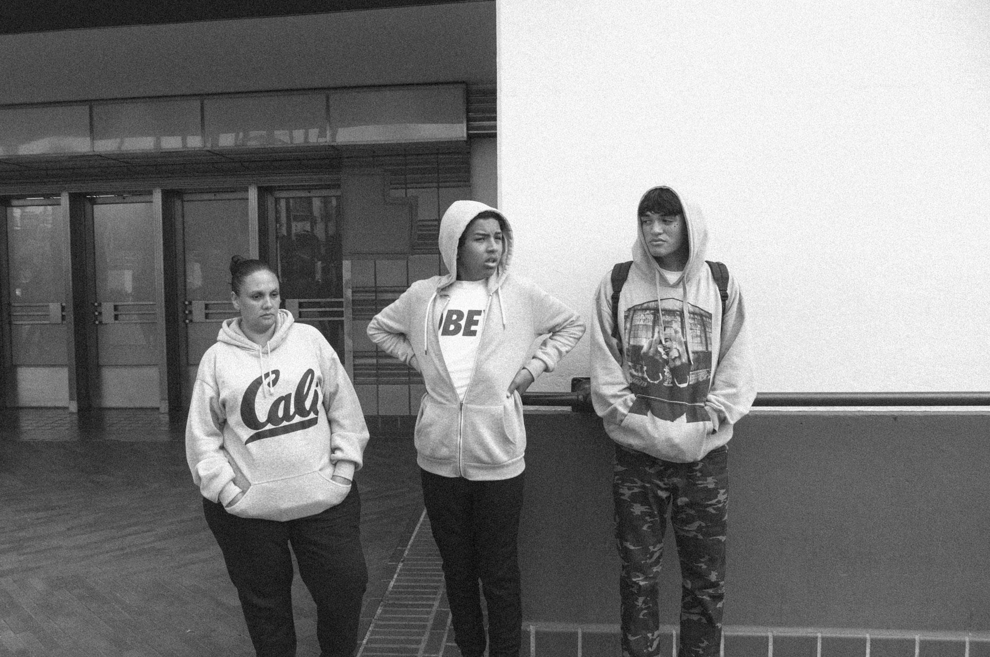 Los Angeles, CA - 2015  Three Girls Waiting Outside Union Station