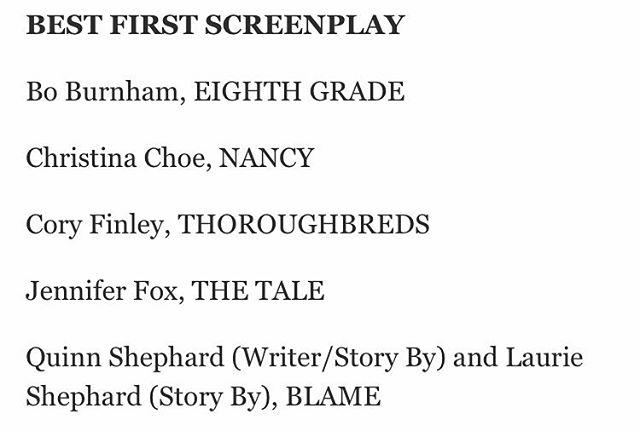 !!!!! CONGRATS @quinnshephardofficial & #LaurieShephard !! Thank you @filmindependent for the #SpiritAwards nom!!