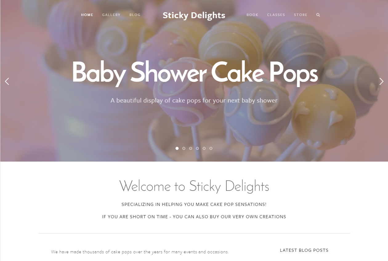 Rotating landing page - Baby Shower Cake Pops