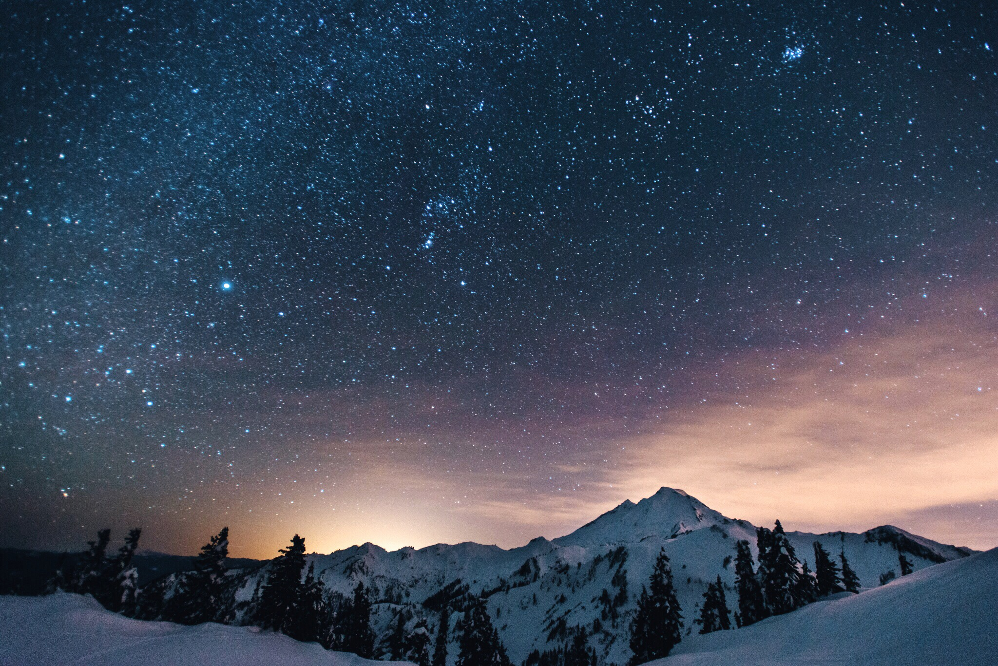 Mount Baker and lots of light pollution.
