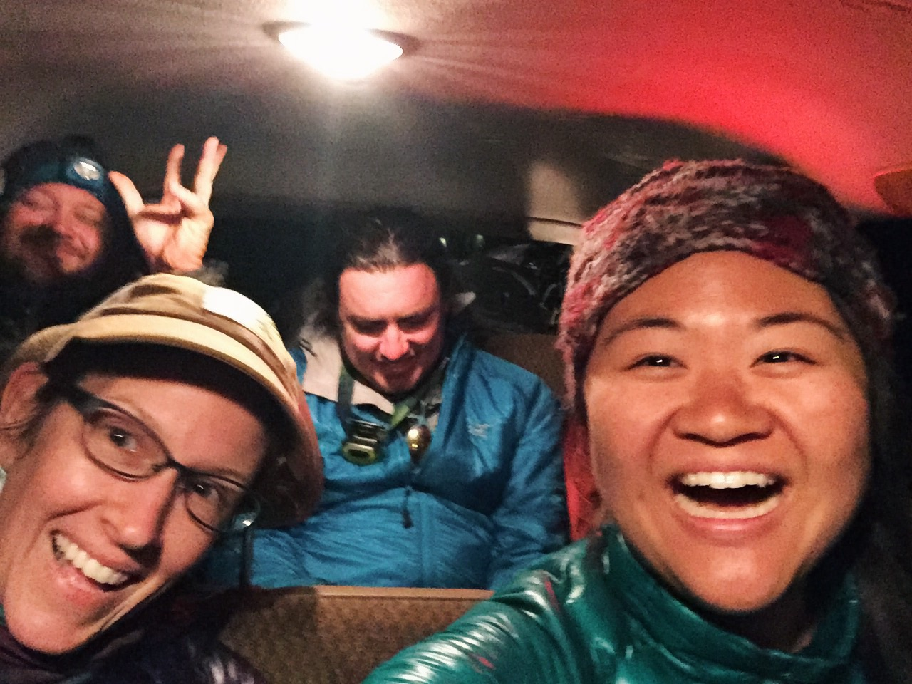 We all squished into Chrissy's van to the motel.