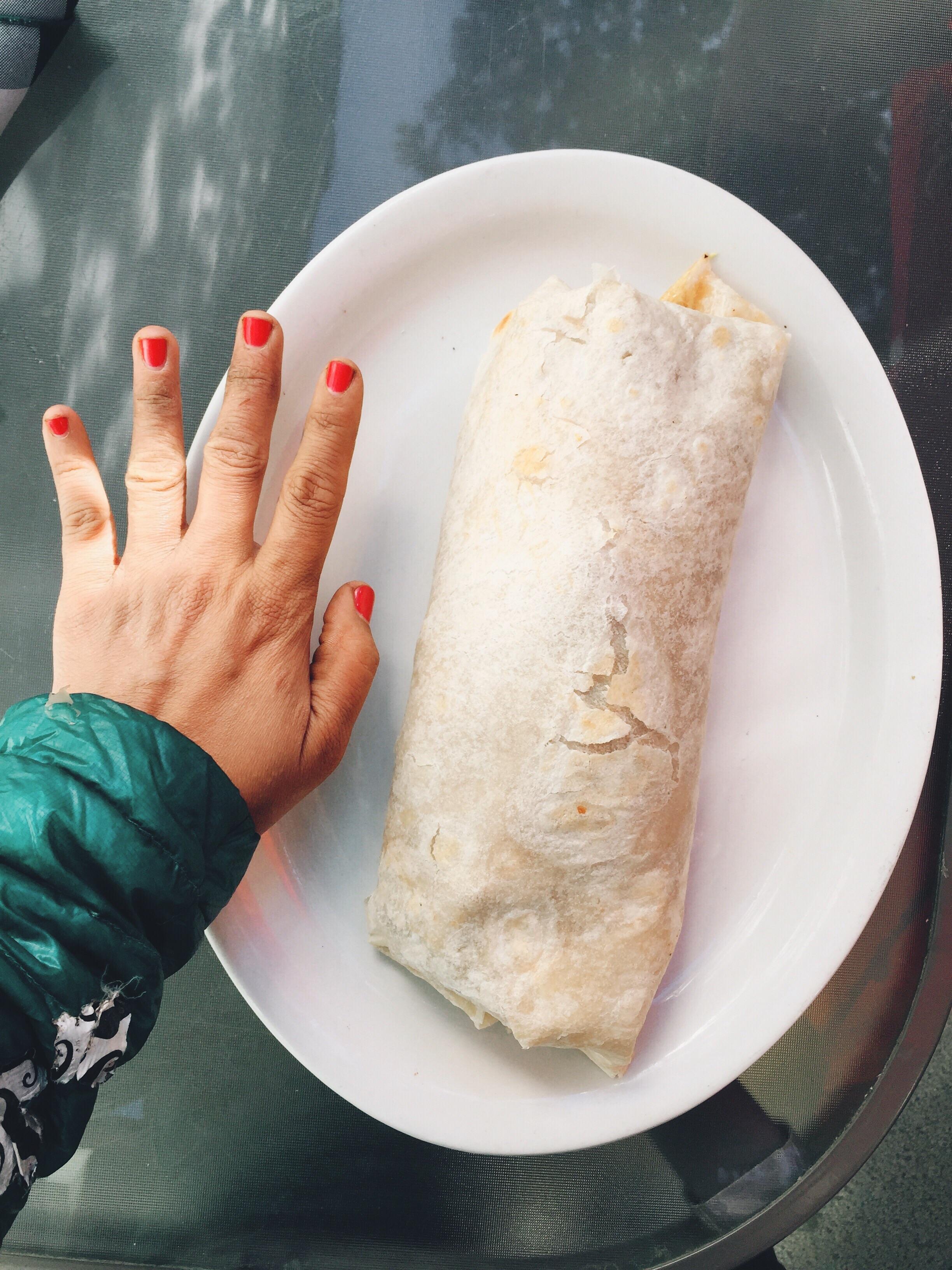 Burrito bigger than my hand.