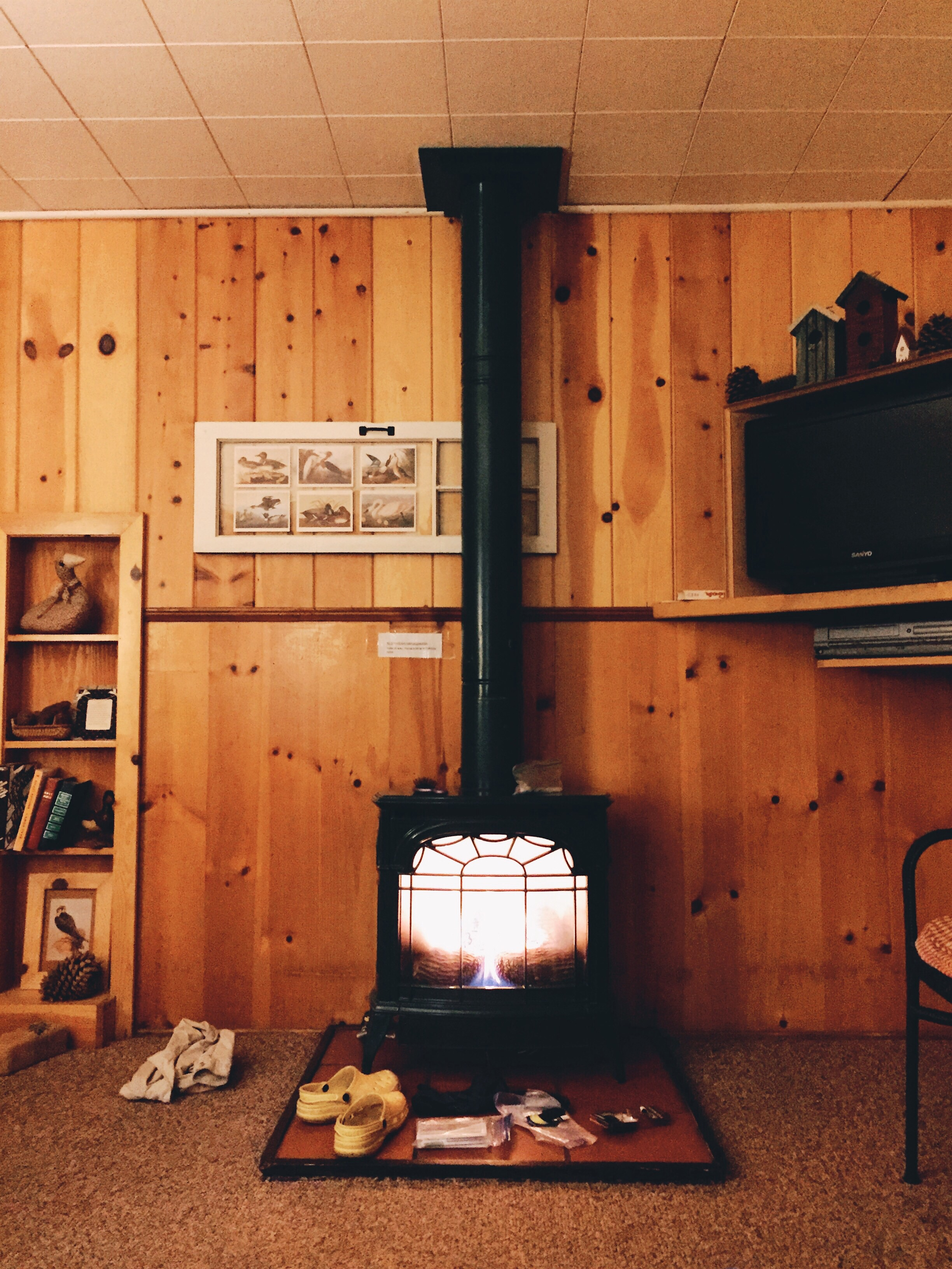 Our cute little cabin had this gas fireplace heater.