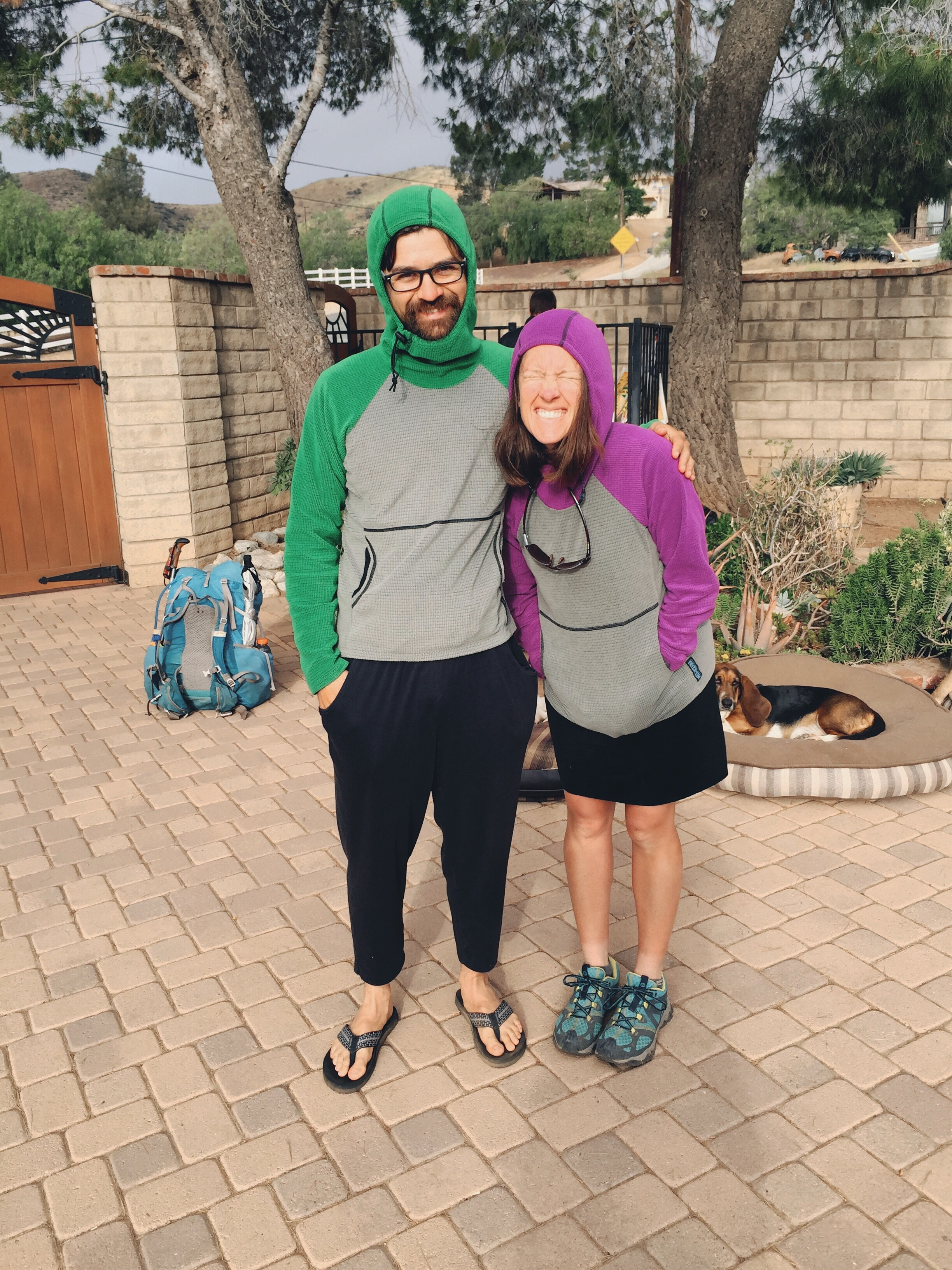 GB and Kristen being twins. I thought we should all order the same fleece and be twins on trail.