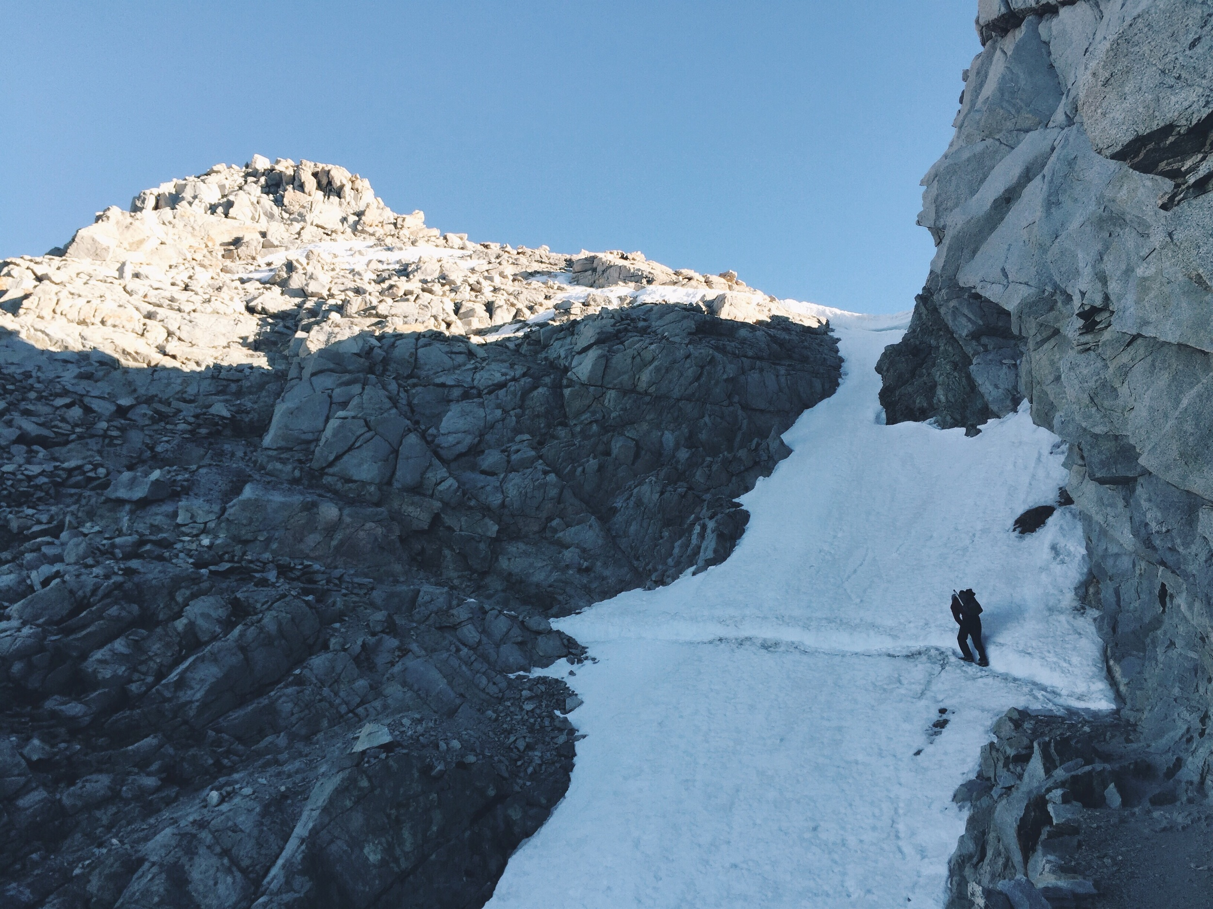 The sketchy looking snow path on forester pass.