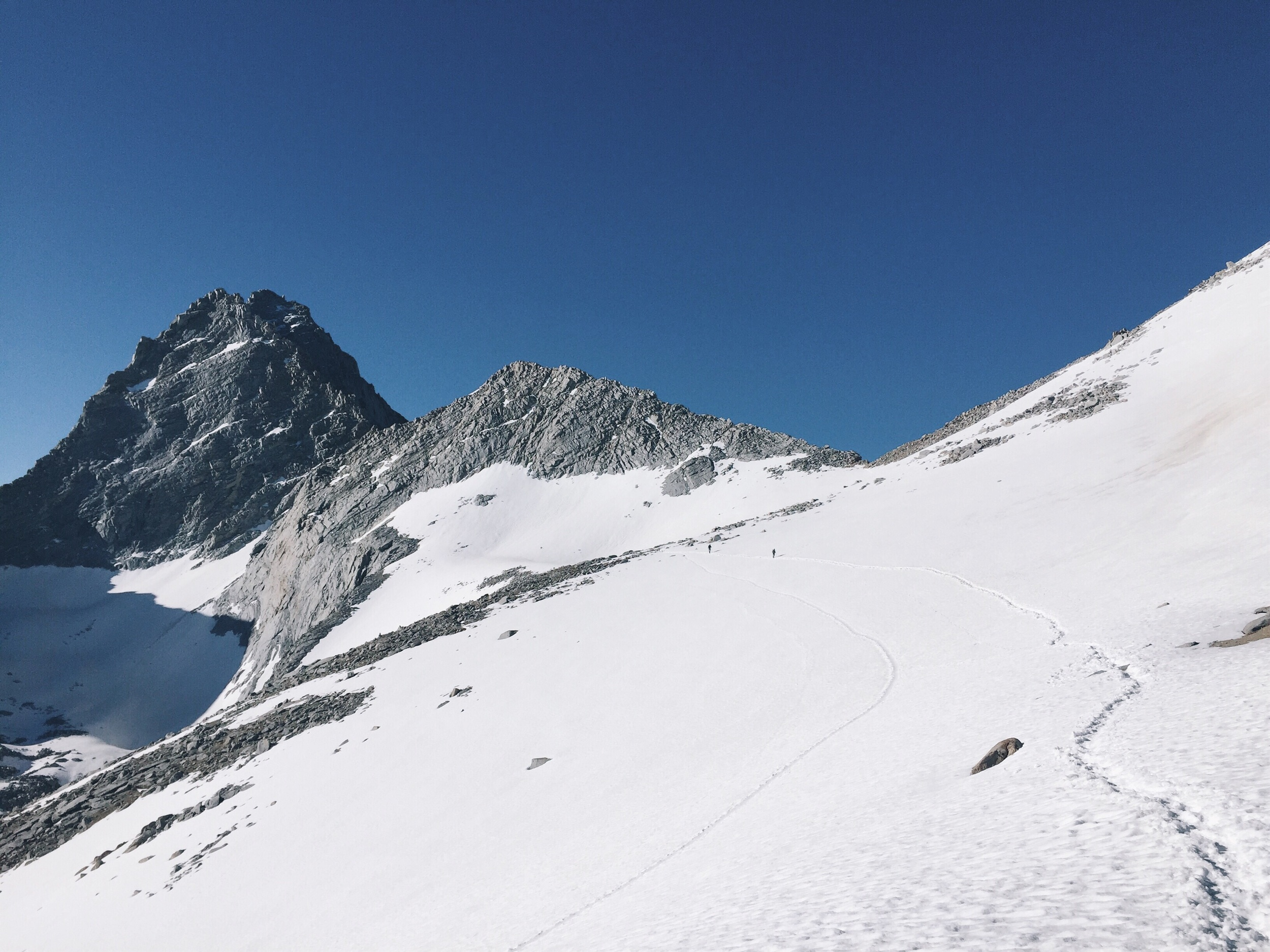 Looking back up at the pass.