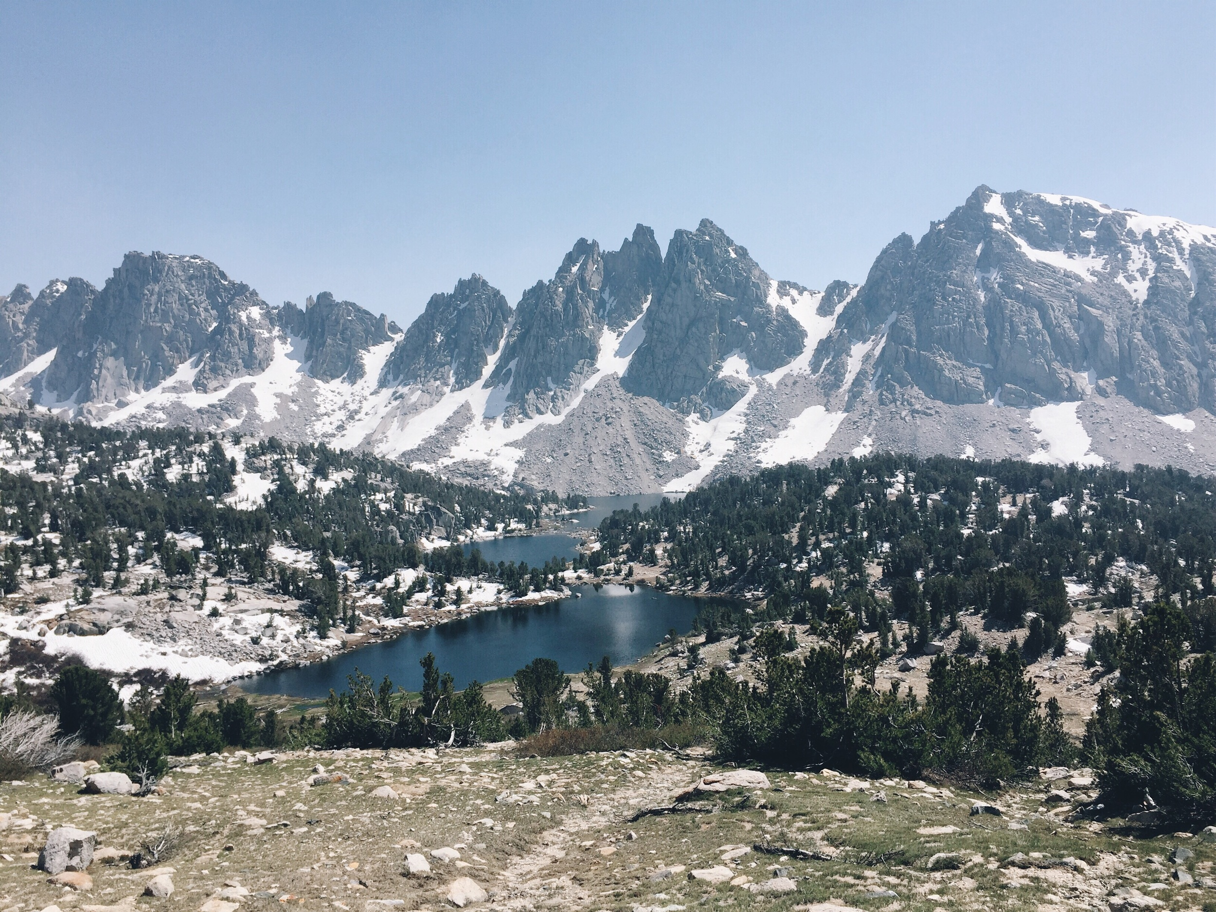 The view looking down as we climbed up to kearsarge pass.