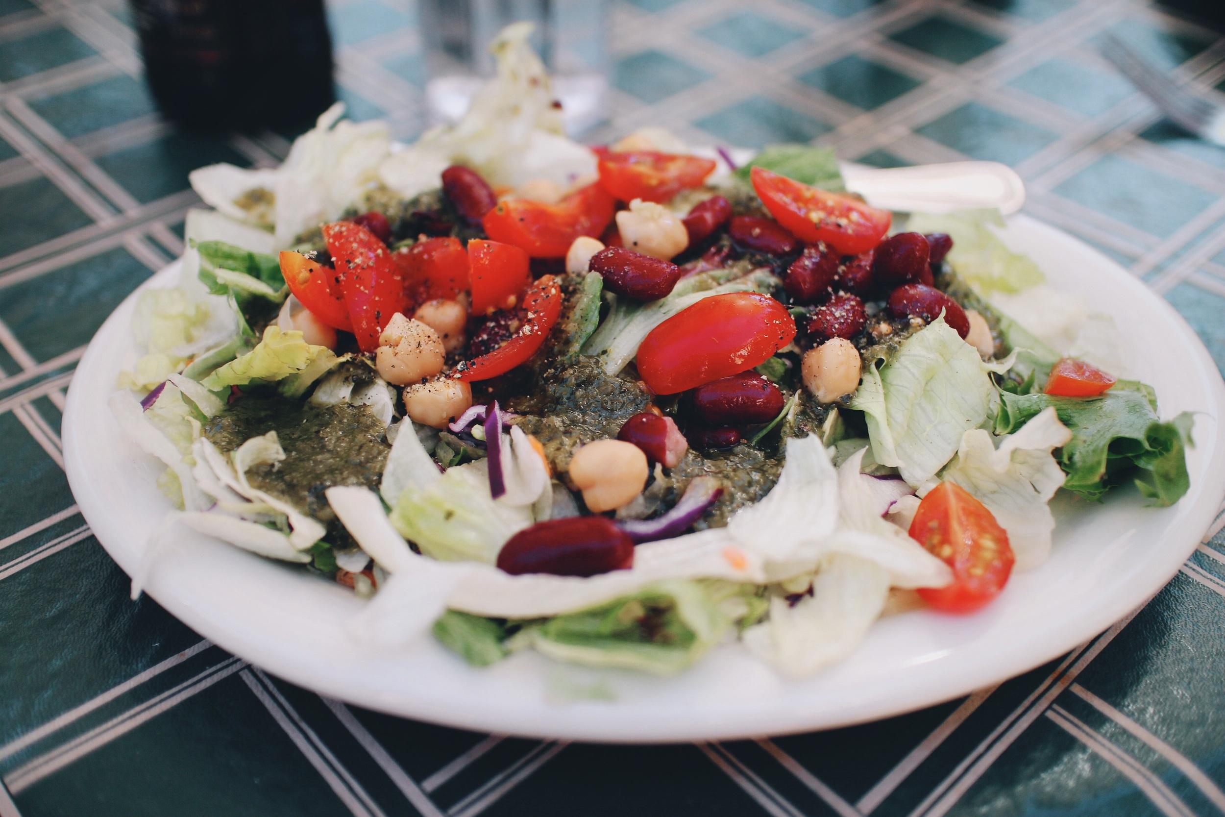 My salad with basil vinegarette.