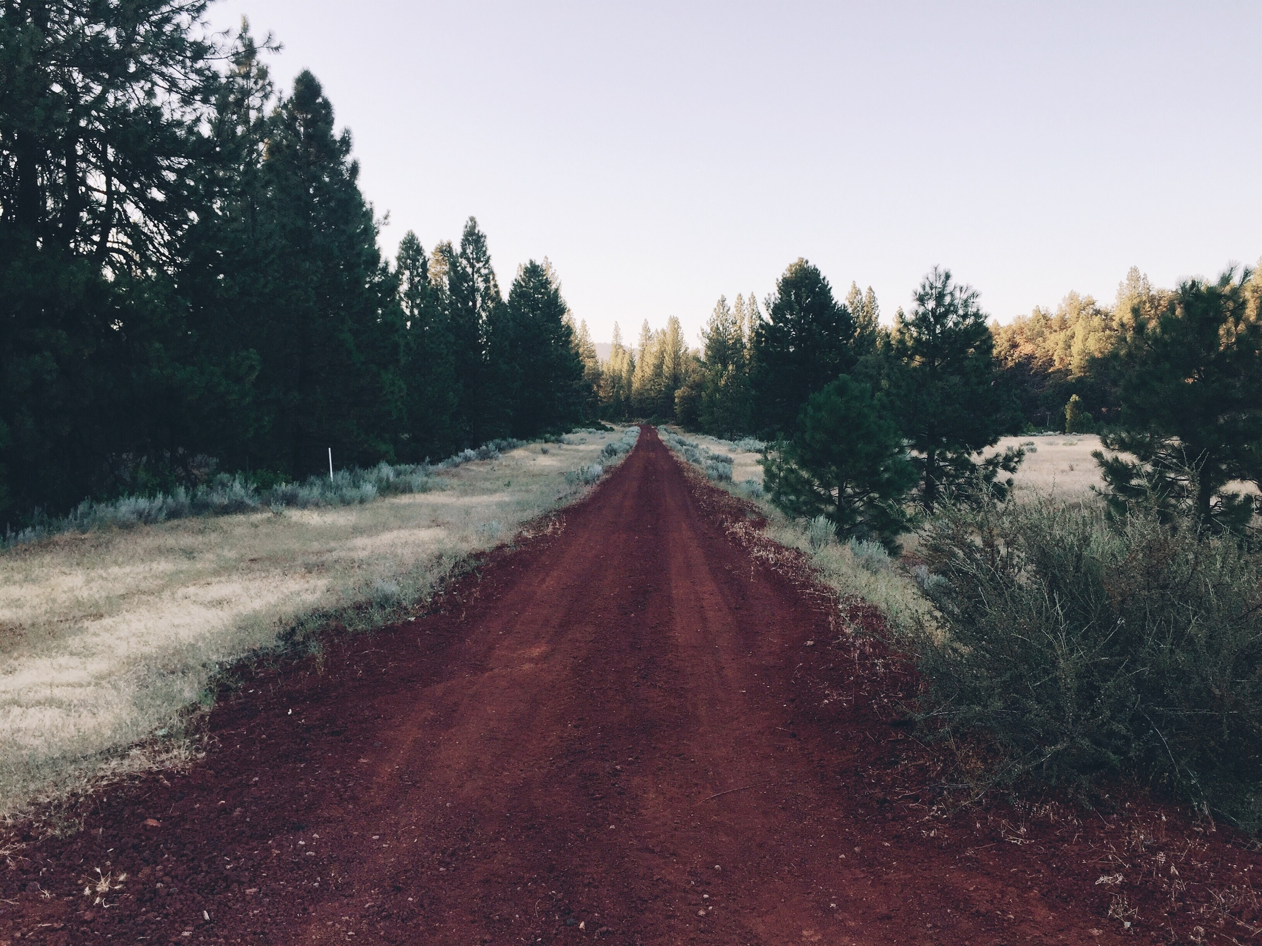 A pretty colored dirt road crossing.