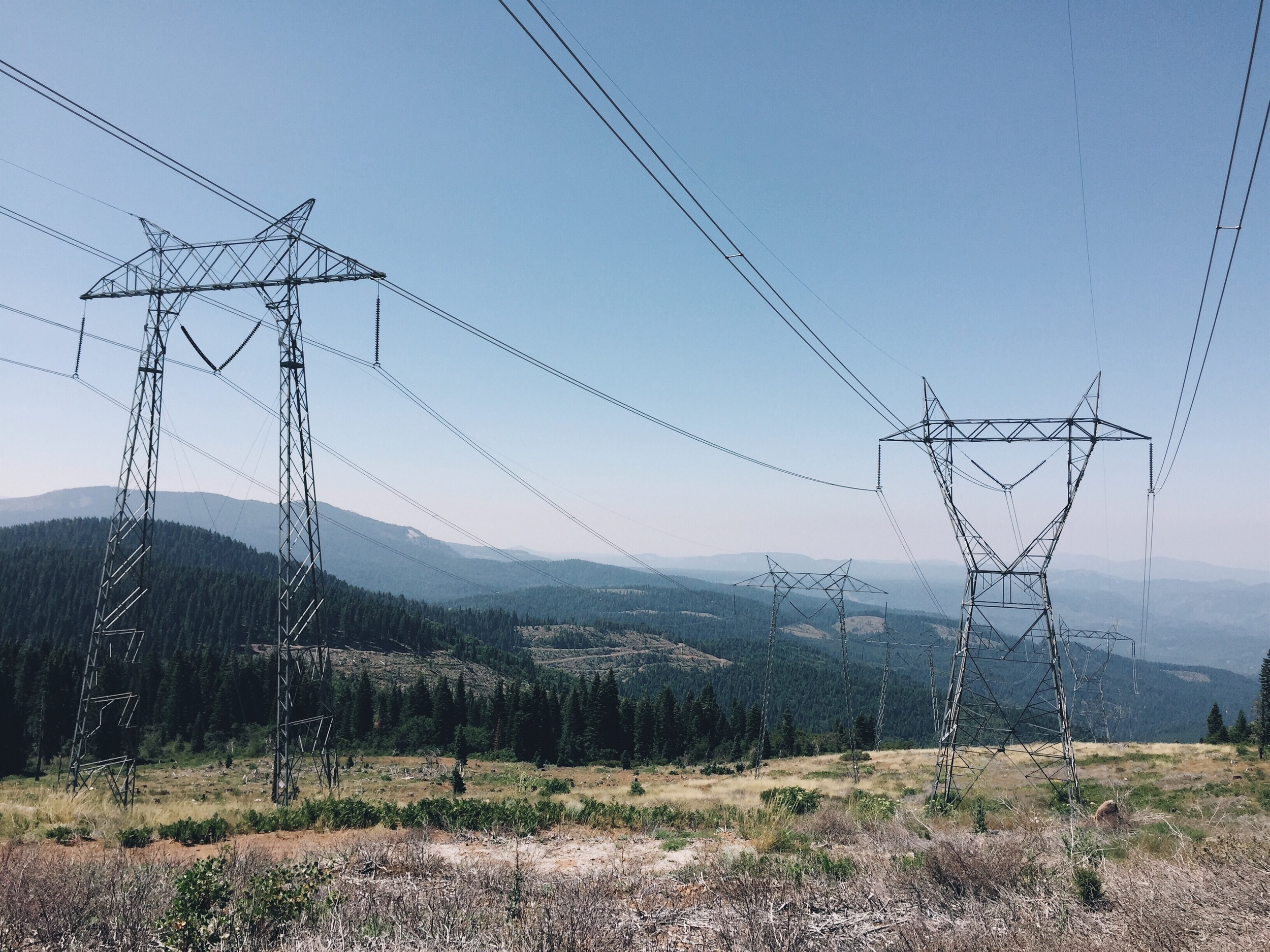Power lines and haze from all the heat.
