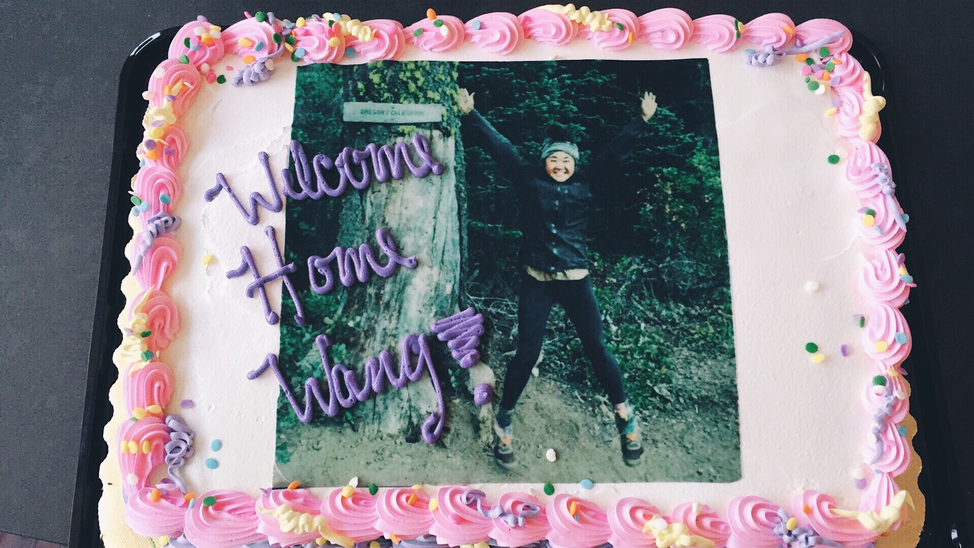 Cake with my face on it. At least I made it to Oregon!