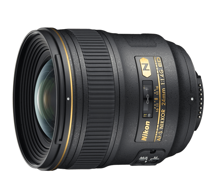 Nikon 24mm 1.4 , never cheap out on a lens. Good glass is worth the investment and will make all the difference. 24mm is wide enough on a full frame and works just fine.