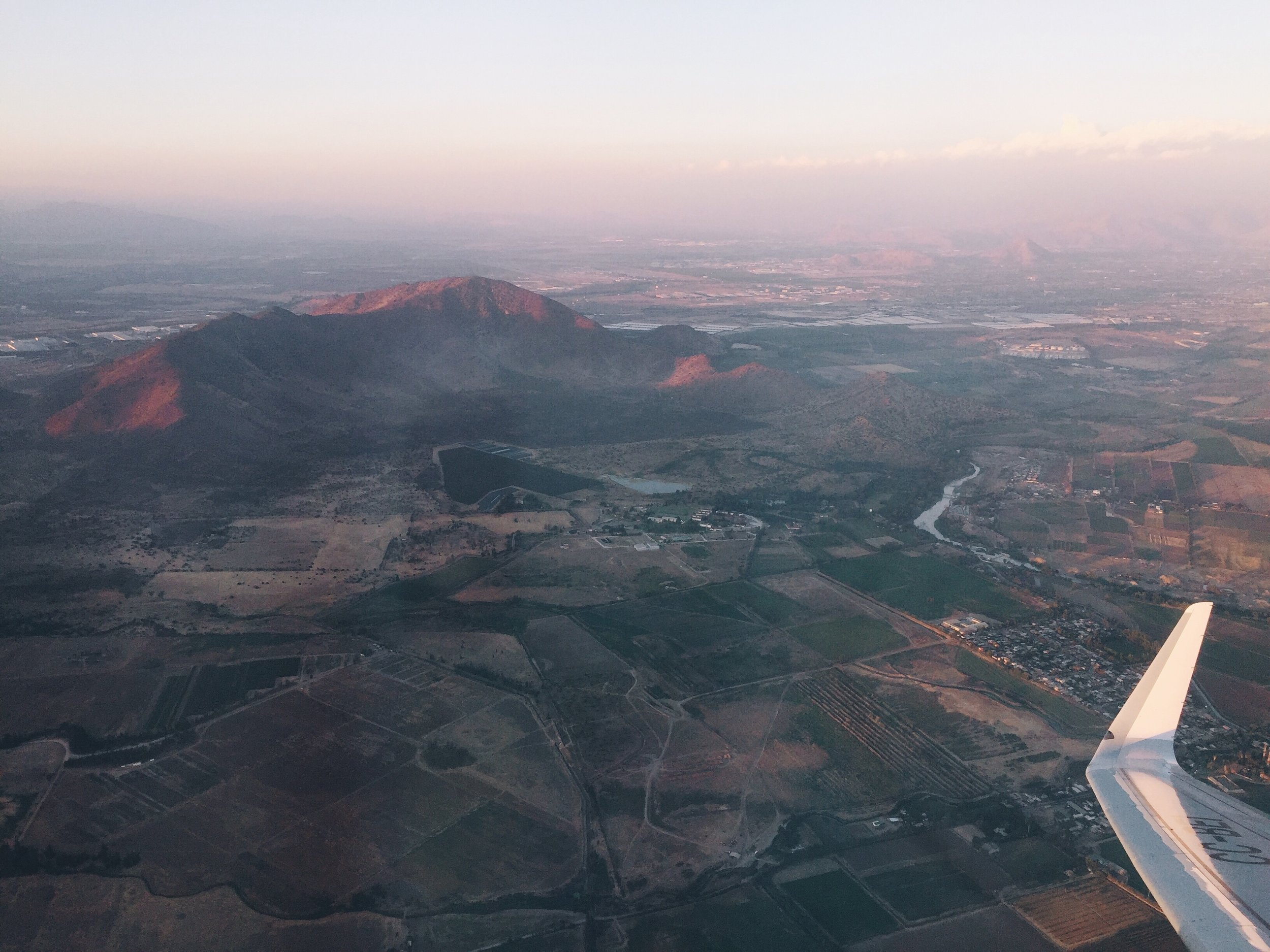 Flying over Santiago.