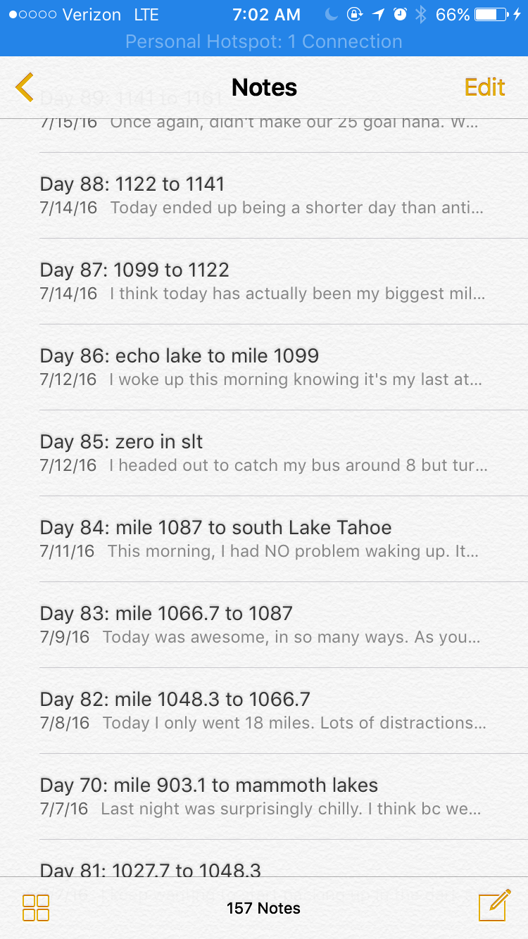 All my daily entries in my notes app.