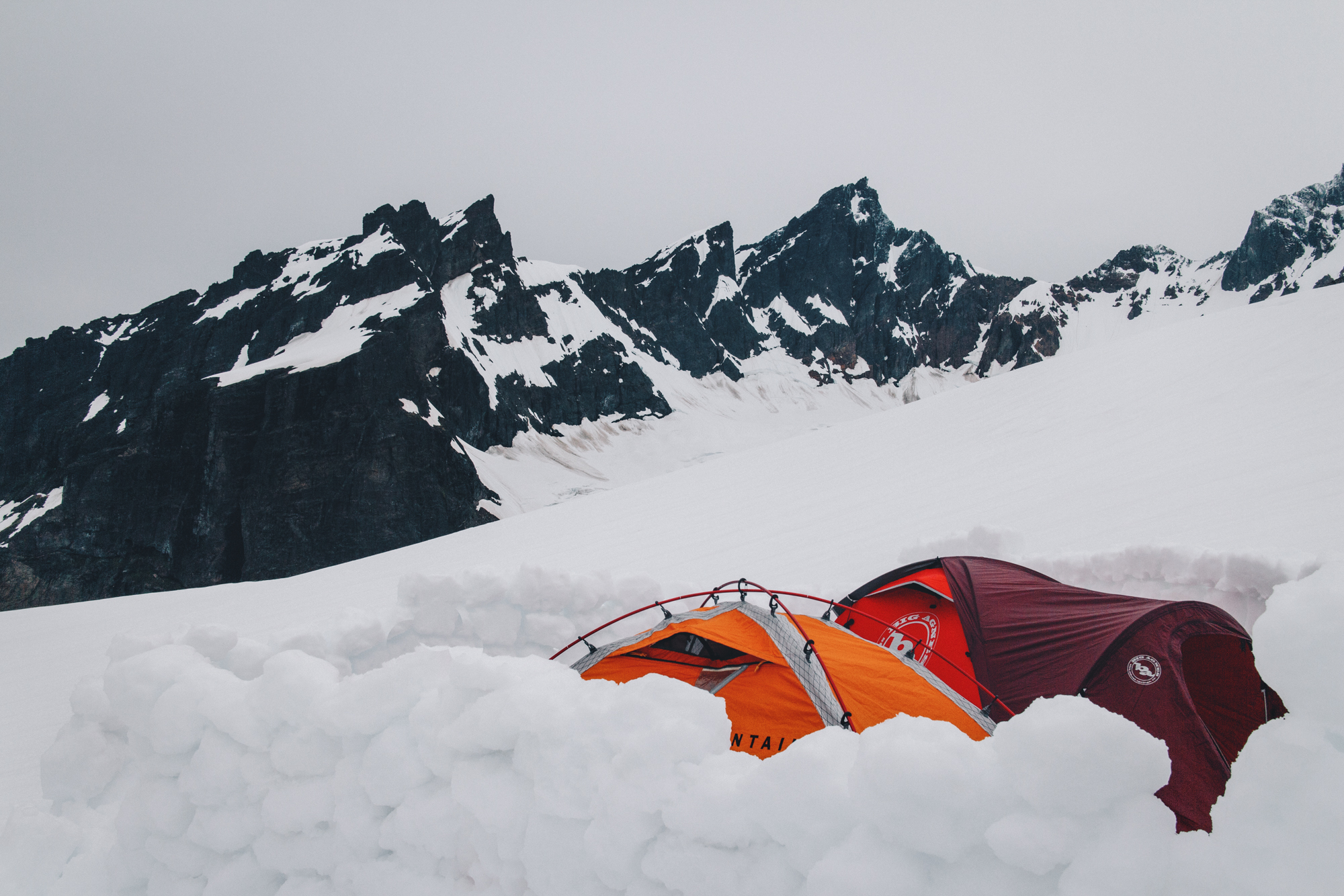 At base camp on Mt. Baker, we built a great wall that fell over a million times.