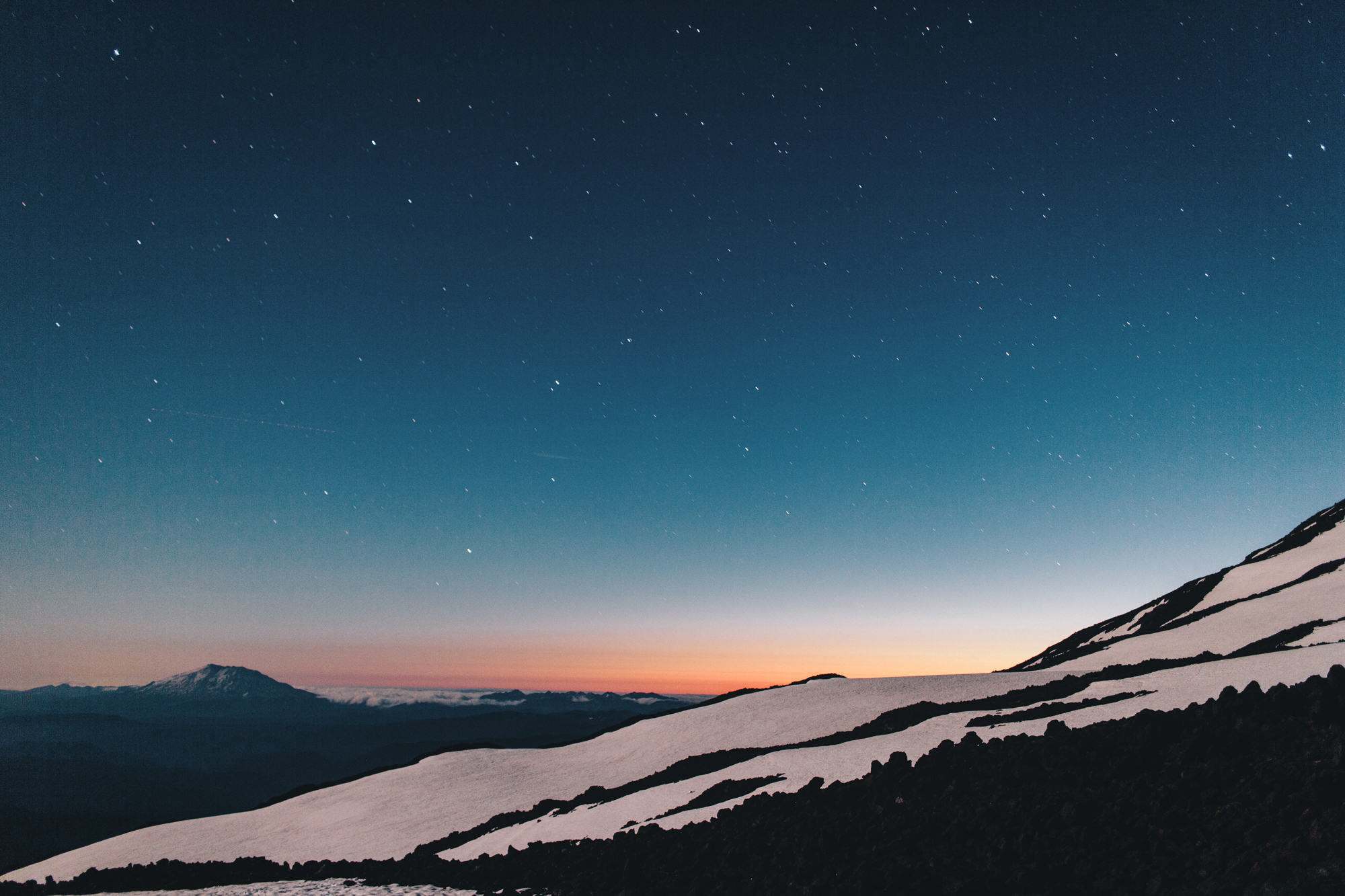 St. Helens glow from camp.