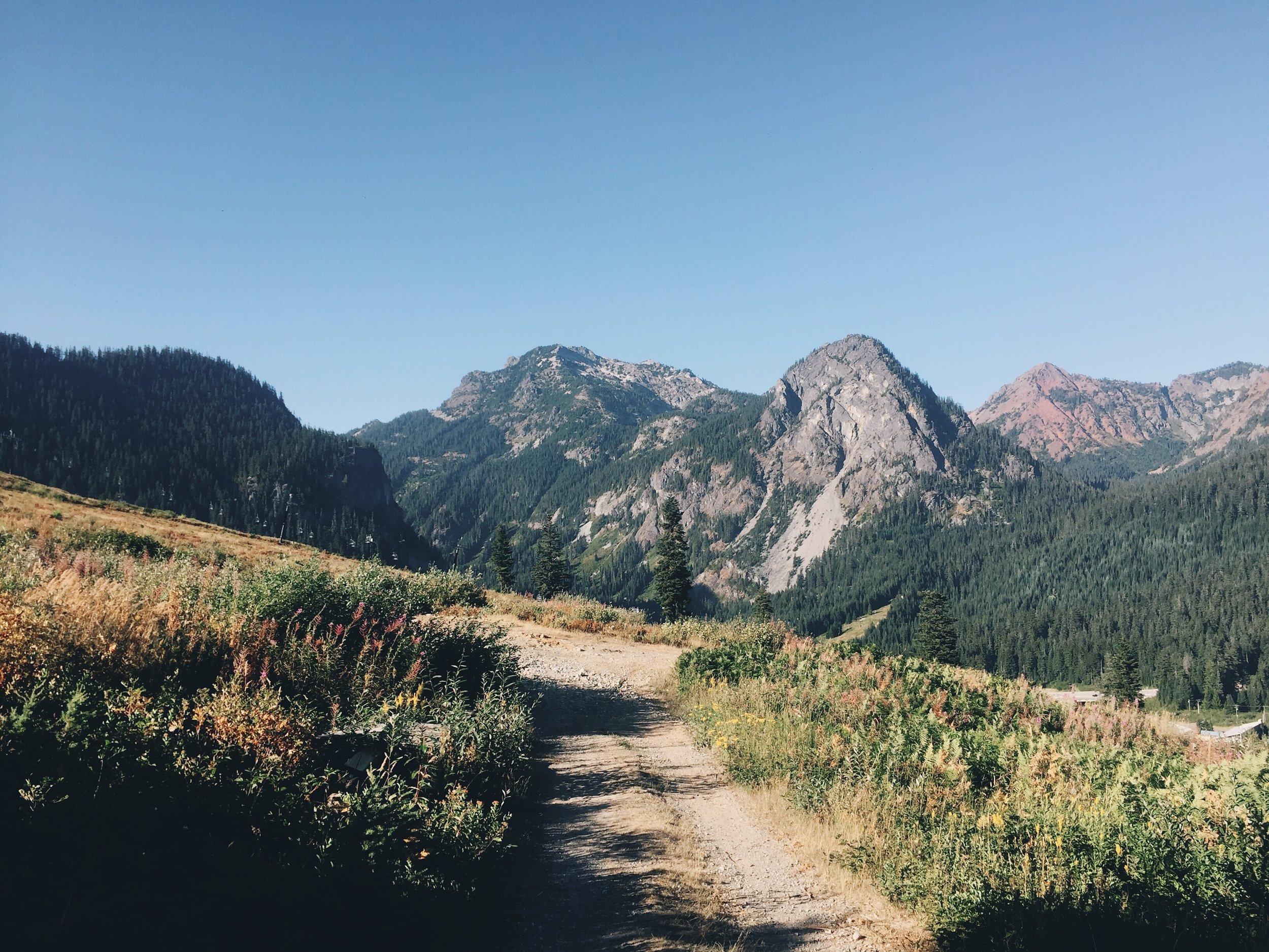 guye peak on the walk down to the pass
