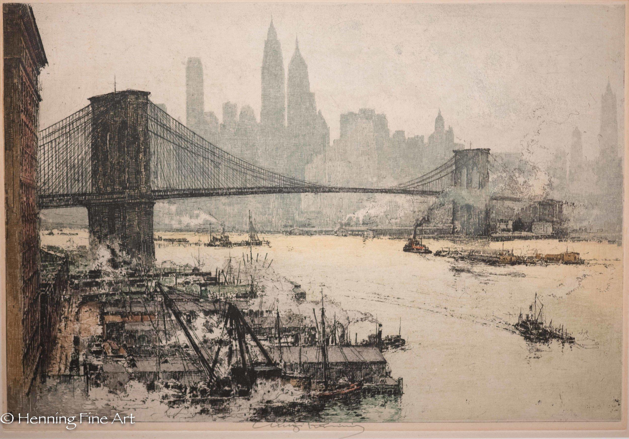 """Luigi Kasimir """"Brooklyn Bridge""""1927 (1-1)"""