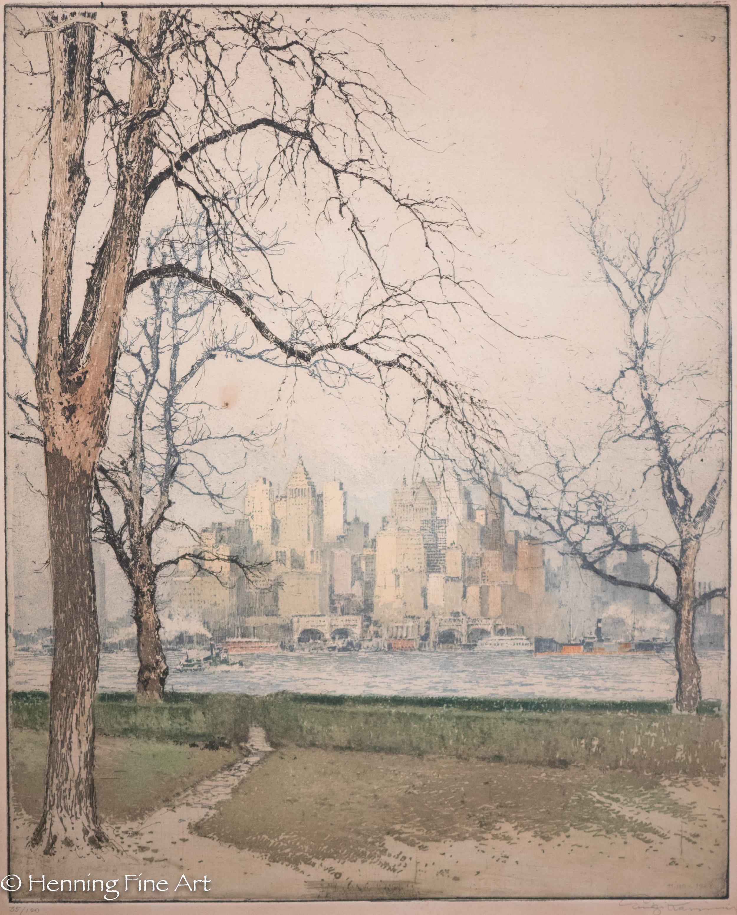 "Luigi Kasimir ""New York from Govenors Island"" 1927 (1-2)"